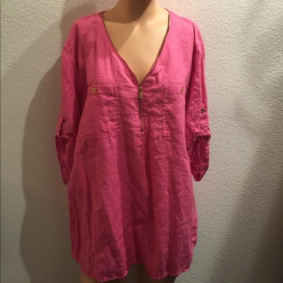 2b05aba0f11d Ellen Tracy Tops | Linen Hot Pink Linen Top Xxl | Poshmark